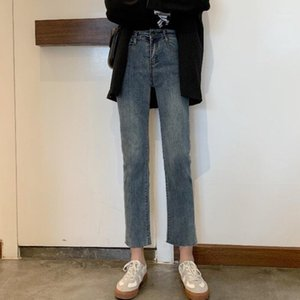 Whcw CGDSR Streetwear Jeans Frau Solid Korean Stil Hohe Taille Denim Pants Frauen 2020 Herbst Winter Vintage Denim Hose Slim1
