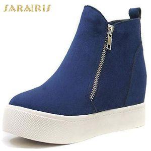 Sarairis New Fashion 2020 Big Size 43 Platform Ankle Boots Women Shoes Zip Up Increasing Heels Dropship Shoes Ladies Boots