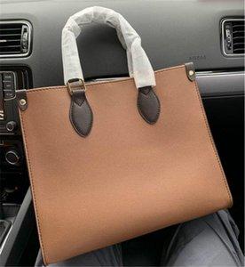 Diseñador de asas enuine bolso de cuero marrón MONOGRAMA de totalizadores del hombro de impresión monedero para mujer de la moda
