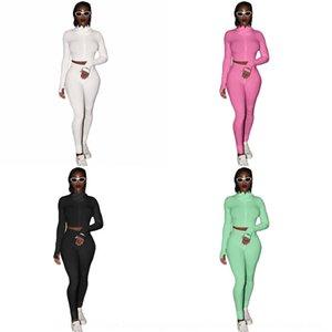 Xojo New Women Tracksuit Listrado Yoga Set Crop Crop 2 Calças De Cintura Alta Sportswear Top Pcs Esporte Terno Suéter Calças De Macacão