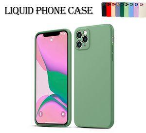 Квадратный жидкий силиконовый чехол для телефона для iPhone 12 11 Pro Max Mini XS X XR 7 8 плюс тонкий мягкий чехол конфеты