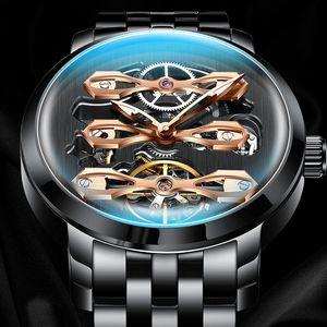 Top Brand Design 2021 New Watch Hollow Flywheel Fashion Style Male Watch Waterproof Stainless Steel Strap SS Gear Watch B1205