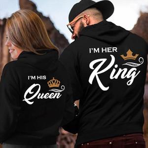 Printing Her King His Queen Lover Hoodies Harajuku Womens Clothing Sweatshirt Plus Size Couple Hoodies Drop Shipping