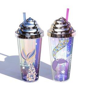 Tazza di plastica della sirena con la tazza dell'acqua del doppio strato del doppio strato di glitter creativo creativo della paglia 420ml tazza d'acqua riutilizzabile