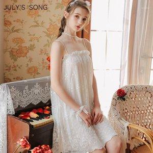 Juli-Song Prinzessin Nachthemd Braut Nachtwäsche Damen Nachthemd Modal Stil Süße Pyjamas Frühling Sommer1
