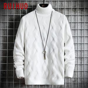 Ruihuo 2020 Winter White пуловер водолазку Мужская одежда Черепаха шеи пальто Высокий воротник вязаный свитер Корейский мужской одежды M-2XL