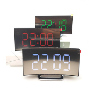 Electronic Alarm Clock Noiseless Design Table Clock Large Screen Snooze Time Temperature Night Display Digital Led Clock with USB Cable