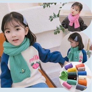 Новые конфеты цветные фрукты вышивка детская шерсть шарф осень зима корейский вертикальный полос мальчиков и девочек вязание шеи