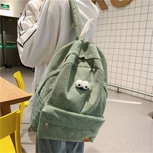 Student Corduroy Preppy Style School Book Backpack Bag Teenager Japanese Korean Fashion Cute Fabric Taptop Knapsack Rucksack Q1129