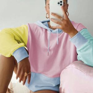 Yiciya Patchwork Streetwear Boy Kadın Hoodies Sonbahar Kış Uzun Kollu Kapüşonlu Kazaklar Moda Harajuku Kazak 201202