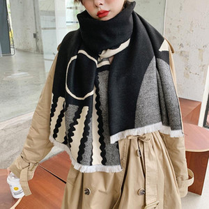 New style thickened tassel scarf for women in autumn and winter 2020 Cat printed cashmere wind proof warm shawl cashmere scarf