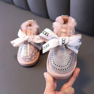 Snow Sho Children's Plush e Winter Engrossado de 1-3 anos de idade Girls Girls 'Hot Diamond Princs Boots
