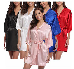 Women's Satin Wedding Kimono Bride Robe.Sleepwear Bridesmaid Robes Pajamas Bathrobe Nightgown Bridal Robes Dressing Gown