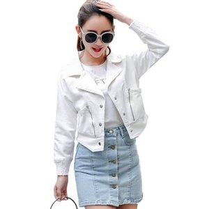Idopy Womens Vintage Solid Slim Fit Long Sleeve Coat Moto Punk Style Denim Jean Jacket Coat Outerwear White For Women Girl