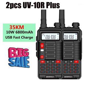 Walkie Talkie 6800mah 10W Walkie-talkies 2 Pcs Powerful Boafeng Uv 10R Plus Vhf Uhf Radio For Car Trucker Communication Equipment Marinerad
