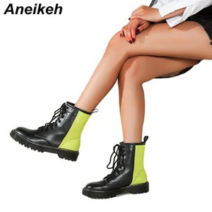 Aneikeh 2020 Autumn Women Shoes PU Round Toe Boots Square Heels Mixed Colors Mid-Calf Riding Equestrian Black-Green Size 36-40
