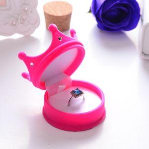Portable Mini Gift Organizer Anti Rust Plush Crown Shape Rhinestone Rings Ear Studs Box High Grade Flocking Jewelry Case Pink PPD3437