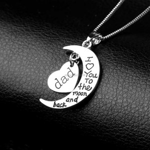 Mom Dad Daughter Heart necklace I Love You To The Moon pendant Necklaces pendant Fashion Jewelry for women Will and Sandy gift