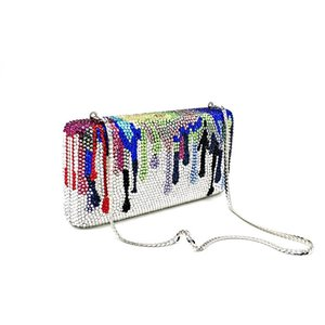 Fashion women evening party purses bridal wedding bag funny colorful full crystal clutches