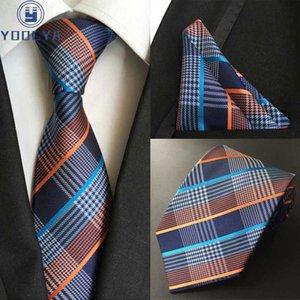 Hot 8cm Uomo Tie di seta a strisce Plaid Cravatta Set Set di fazzoletto Set di scollo di lusso Ties Uomo Classic Classic Party Matrimonio tasca tasca quadrato set
