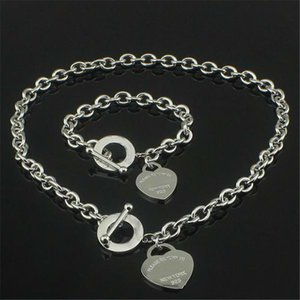 bracelet Christmas Gift 925 Silver Love Necklace+Bracelet Set Wedding Statement Jewelry Heart Pendant Necklaces Bangle Sets 2 in 1