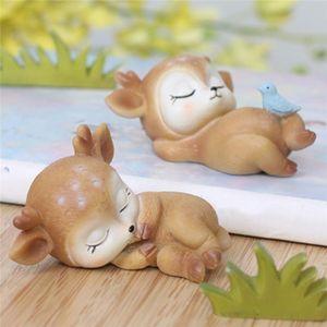 Süße Harz Kitz Tier Modell Figuren Cartoon Deer Spielzeug Kawaii Hochzeit Dekorative Zubehör Party Desktop Haushaltsdekoration