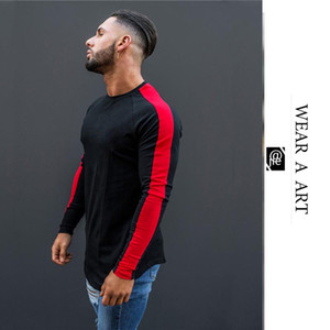 Men Cotton Clothes Trend Boy Long Sleeve T-shirt O-neck Pure Color Stripe Top Breathe Freely Sport Gym Undershirt Simple Spring Autumn New