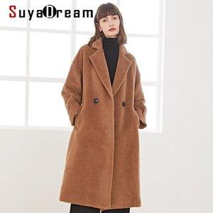 Suyadream fait main 50% alpaga cachemire 50% laine femmes manteau long manteau élégant bureau chic mélange chameau de chameau de chameau d'hiver