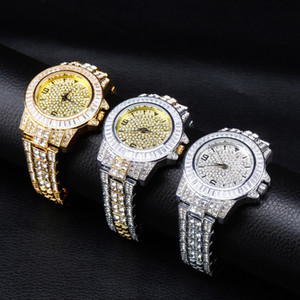 Fashion Iced Out Diamond Watch for Men Women's Quartz Watches Bling Rhinestone CZ Hip Hop Cuban Chain Bracelet
