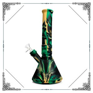 12 inches Beaker bongs Portable silicone bong water pipe oil dab rig hookah bongs with glass bowl wholesale