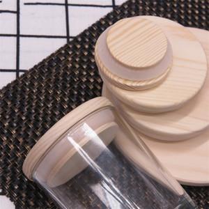 Líquidos de madeira do frasco de madeira 8 tamanhos tampas de garrafa de madeira reutilizáveis ambientais com tampa de vidro da garrafa de vidro do anel de silicone DHF4769