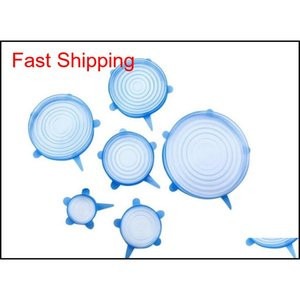 6pcs Sile Stretch Lids Reusable Airtight Food Storage Covers Durable To Keep Food Fresh qylvvX sports2010