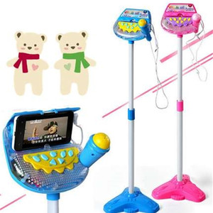 Children upright Microphone Musical Karaoke Machine Sing Toy with MP3 Microphones Disco Flashing Lights Kid Funny Gift