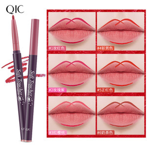 QIC automatic rotary lip sharpening pencil hook line waterproof lipstick lip makeup 6color lip pencils free shipping