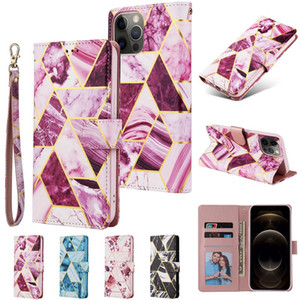 For iPhone 12 11 PRO XS MAX XR Marble Phone Case PU Wallet Cases with Photo Frame Slot Leather Case Covers for S20 S20 PLUS Note 20 S20 FE
