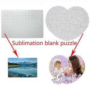 Sublimations-Leerzeichen Puzzle-Party Gedenkgeschenk Liebe Herz-förmige rechteckige Wärmeübertragung Puzzle-Partei Favor DIY Puzzle XD24282