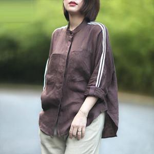 F je New Llegada de otoño camisa de las mujeres de la manga larga de manga larga sueltas camisas casuales para las señoras Tops Double Bolsillos de algodón Lino Blusas YG