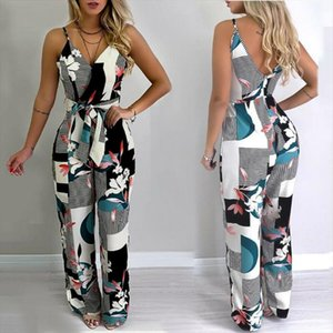Womens Strappy Floral Pocket Holiday Sleeveless V neck Print Bohemian Shorts Summer Beach Jumpsuit Elegant Party Clothes S 2XL