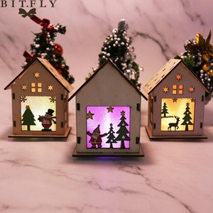 2020 New Year Christmas Decorations For Home DIY Luminous Cabin Christmas Snow House Elk With Light Wooden Cottage Decoration