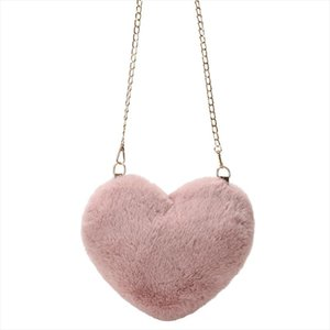 Autumn and Winter Ladies Shoulder Bag Furry Heart shaped Cute Girl Shoulder Purse Young Female Slung Bag Soft and Light