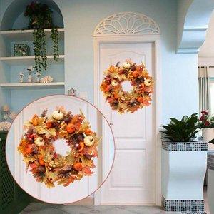 40cm Halloween Wreath Pumpkin Berry Decoration Maple Garland Rattan Artificial Fall Wreath Front Door Home Decor Thanksgiving