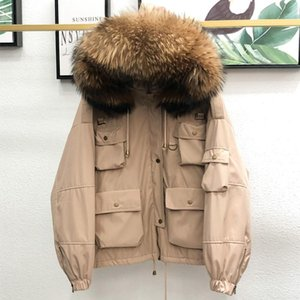 FTLZZ Winter Large Natural Raccoon Fur Hooded Jacket Women Thick 90% White Duck Down Coat Short Pakers Loose Down Outerwear