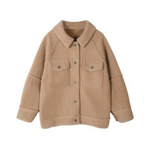 Mozuleva 2020 Autumn Winter Anti Sheepskin Coat Female New Loose Plush Coat Shirt Jacket Turn-down Collar Jackets