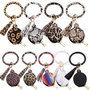 Multifunctional Fashion PU Leather Keychain Earphone Bag with Mirror Bracelet Keychain Coin Pouch Valentines Day Gifts 9 Style DHD4461