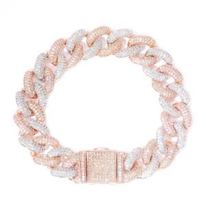 Lock Clasp 14mm Hip Hop Iced Out Bling CZ Men Bracelet 7 8 9 Inch Miami Cuban Link Bracelets Hiphop Jewelry