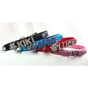 Katze Leder 20 teile / los PU 7 Colors Haustier Schlange Haut Hundehalsband mit Bar Fit Für 10mm DIY Brief Slide Charm