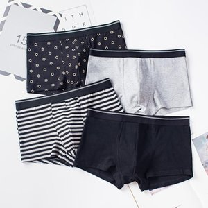 4pcs Male Panties Cotton Men's Underwear Boxers Breathable Man Boxer Solid Underpants Comfortable Shorts Large size