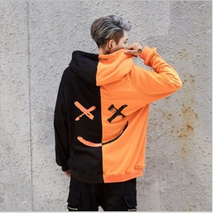 New men's casual fashion color matching smiley face sweater long sleeve sports Hoodie men's wear