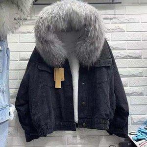 Women's Jackets Women Fur Trim Hood Cotton Liner Long Denim Winter Hardy Warm Coats Plus Size Loose Outwear
