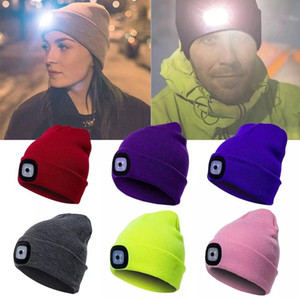 Wholesale Unisex LED Beanie Hat with Light, USB Rechargeable Winter Knit Lighted Headlight Headlamp Cap, Xmas Gift for Men Dad Him and Women